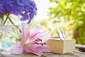 book on the table with flowers