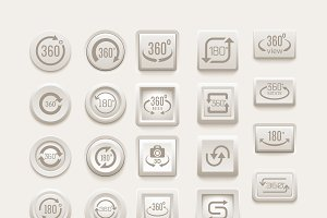 Rotate buttons vector set