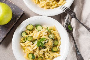 Pennette pasta with courgettes