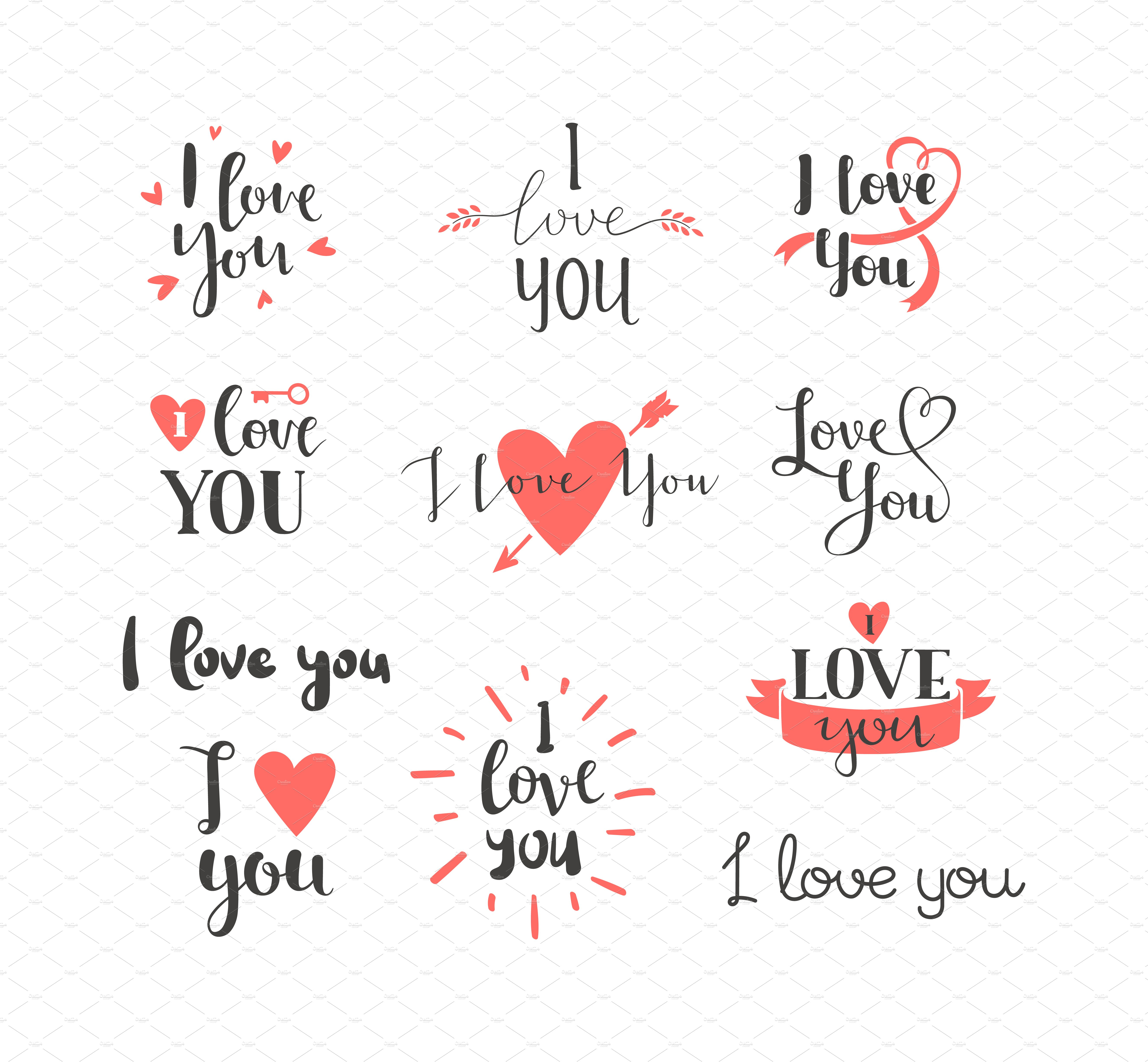 loving you letters i you vector text illustrations creative market 23515 | 7love letter