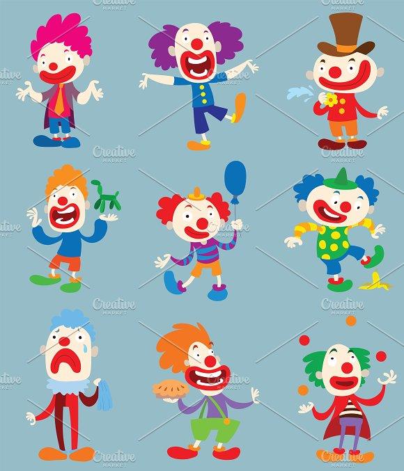 Clown character vector cartoon illustrations creative market colourmoves