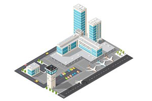 3D isometric view of the airport