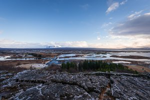 Snow covered mountains in Iceland in the winter, thingvellir National Park.