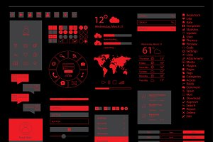 Mobile interface red vector