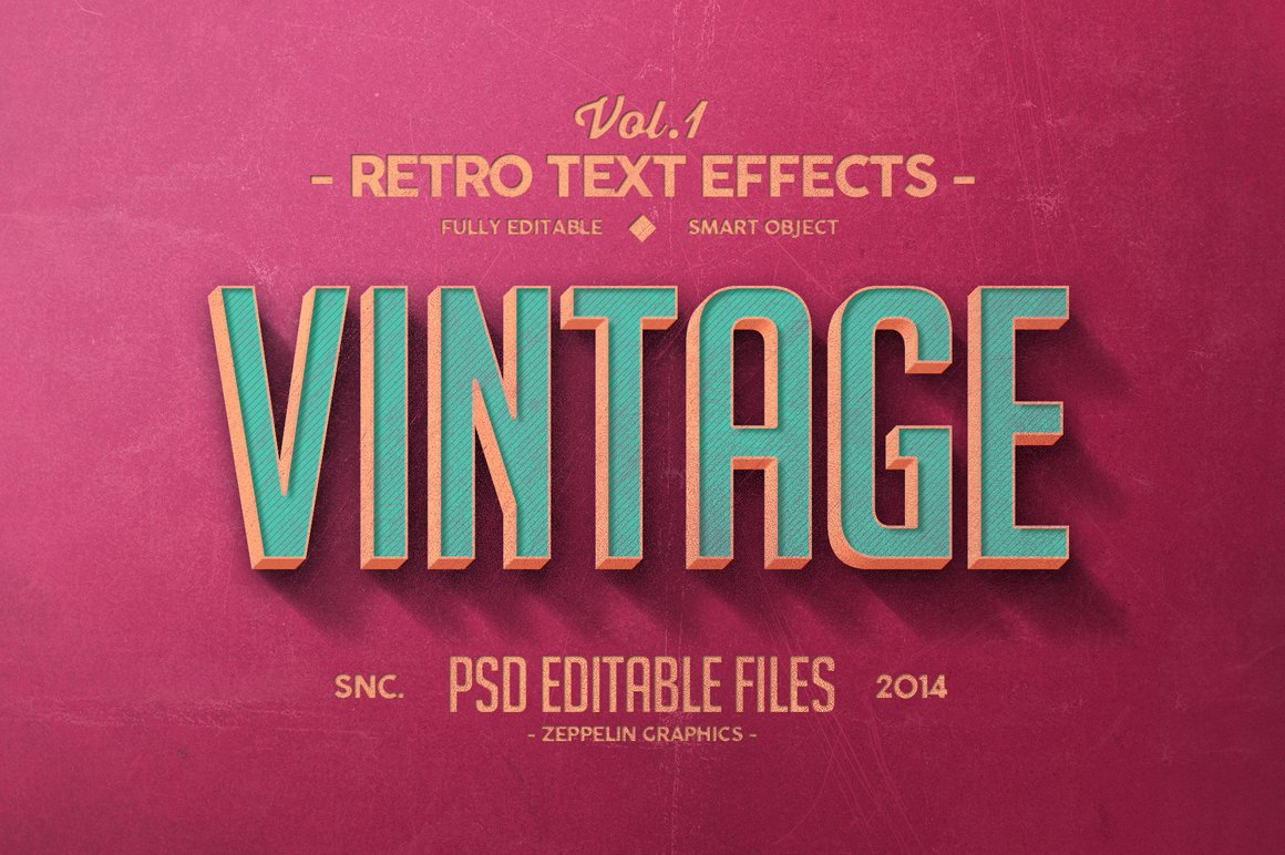 Vintage text effects vol1 add ons creative market baditri Image collections