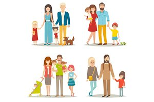 Happy family сartoon character