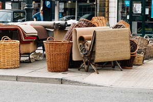 Wicker baskets and rugs