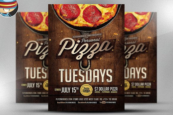 pizza flyer template flyer templates creative market. Black Bedroom Furniture Sets. Home Design Ideas