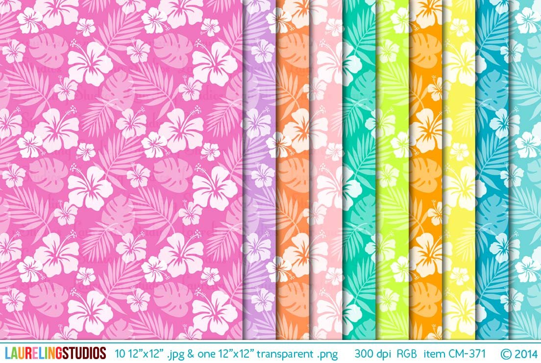 Hibiscus Pattern Digital Paper Graphic Patterns Creative Market