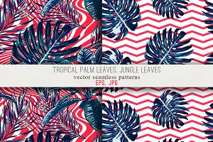 Jungle leaves abstract patterns