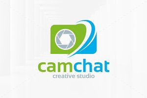 Camera Chat Logo Template