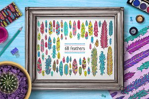 68 vector feathers