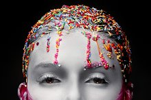 Fashion model with creative make-up sweet style