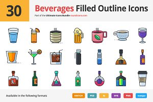 30 Beverages Filled Outline Icons