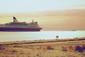 Passenger ferry come out in the sea