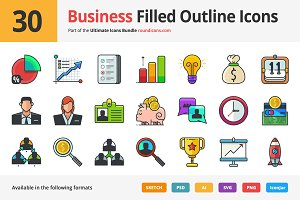 30 Business Filled Outline Icons