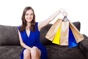 Woman with a bunch of shopping bags