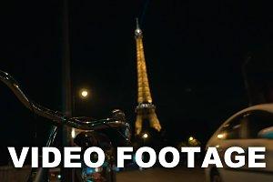 Car traffic on night street in Paris