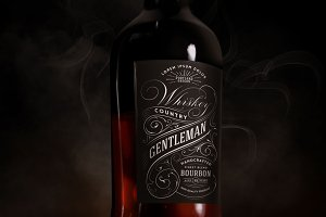 Whiskey, Rum, Brandy bottle mock-up