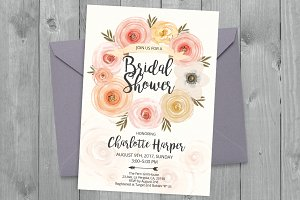 Watercolor flowers template 12