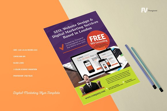 digital marketing flyer template flyer templates creative market - Marketing Brochure Template