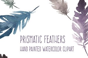 Prismatic Watercolor Feathers