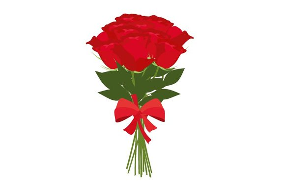 Bouquet Of Red Roses Vector Graphics Creative Market