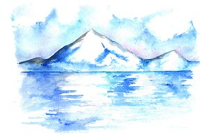 Watercolor North winter moutains