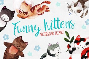 Watercolor funny kittens