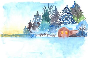 Winter house in wood landscape