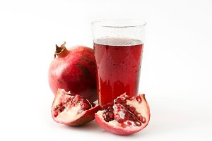 Pomegranate juice isolated