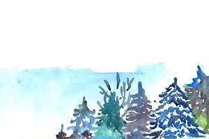 Watercolor winter snowy pine wood