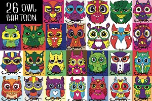 Cute Colorful Owl Friends Vector Set