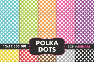 Polka Dot Digital Paper Patterns