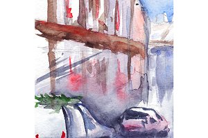 Watercolor rainy street car road