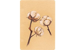 Vintage cotton sepia craft scetch