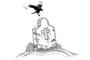 Crow on Grave, Handdrawn Style