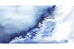 Watercolor winter ice snow landscape
