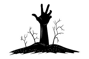 Creepy Hand Raise over the Grave