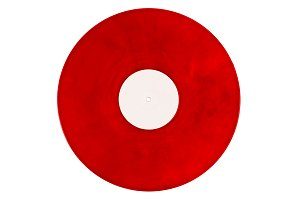 Red vinyl on a white background