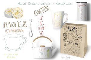 Coffee Lettering Words Graphics