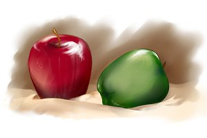 Red and green apples digital art