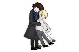 Anime manga hug pair man
