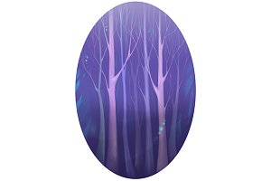 Violet magic forest tree digital art