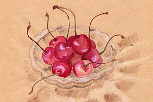 Watercolor cherry in crystal ware