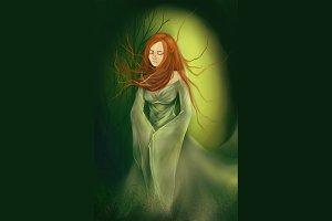 Ginger dryad girl digital art