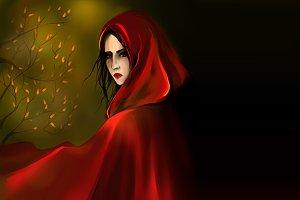 Little Red Riding Hood girl digital