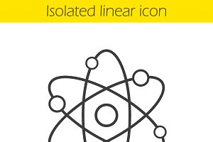 Atom structure linear icon. Vector