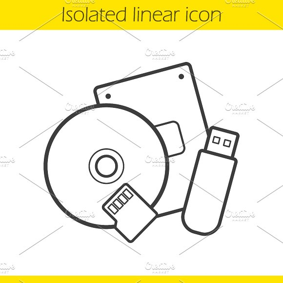 Data storage devices icon. Vector - Icons