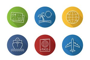 Travelling. 9 icons. Vector